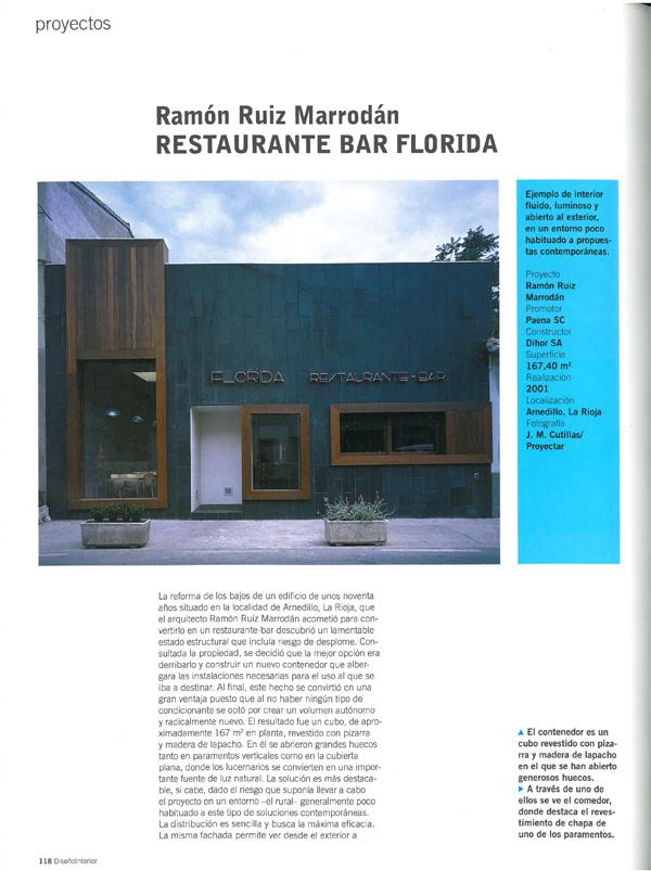 Diseño interior 145. Bar Restaurante Florida